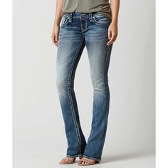 Rock Revival Melora Boot Stretch Jean - Blue 24/32 ($144) ❤ liked on Polyvore featuring plus size women's fashion, plus size clothing, plus size jeans, blue, rock revival jeans, frayed-hem jeans, slim bootcut jeans, stretch bootcut jeans and slim fit stretch jeans