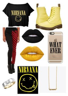 """""""Nirvana"""" by davinaespinosa ❤ liked on Polyvore featuring Tripp, Dr. Martens, Lime Crime, Casetify, Me & Zena and Blue Nile"""