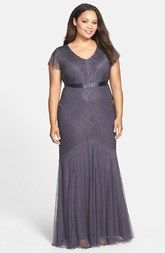 Adrianna Papell Beaded Chiffon Gown (Plus Size)