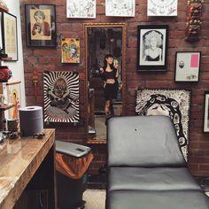 Hannah Sykes in her tattoo studio Tattoo Shop Decor, Tattoo Studio Interior, Tattoo Estudio, Barber Shop Interior, Hannah Pixie, Segovia Amil, Outdoor Paint, Snowdonia, Art Studios