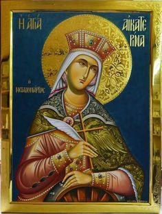 Katherine by Georgios Zafiriou Religious Icons, Religious Art, Saint Catherine Of Alexandria, Greek Icons, Church Icon, Russian Icons, Byzantine Icons, Orthodox Icons, Kirchen