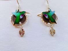 earrings, hummingbirds, birds ,jewelry hand stamped, gift ideas, nature jewelry, wildlife art jewelry, birds. Wearable art, gift ideas by MoonHeartStudios on Etsy