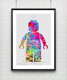 LEGO Man Watercolor Print, Baby Boy Nursery Bedroom Wall Art, Children's Gift Idea by VIVIDEDITIONS