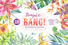 Tropic Bang! Floral collection by OctopusArtis on Creative Market Pocket Scrapbooking / Project Life / Journaling / Memory Keeping