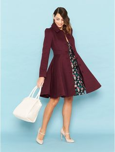 Review Australia Willow Coat $299.99 Update your Winter wardrobe with the stunning Wine coloured Willow Coat. A brushed twill, swing style featuring a full circle skirt and side pockets.