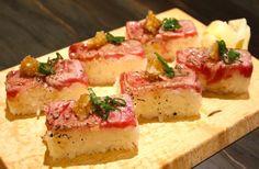 """wagyu oshizushi"" pressed wagyu beef sushi by Oshi Sushi, Beef Sushi, Japanese Food Sushi, Wagyu Beef, Bar B Q, Fine Dining, Feta, Sashimi Sushi, Food Porn"