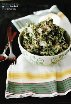 Creamy Kale Salad - the salad that will get you hooked on raw foods! (raw, vegan)