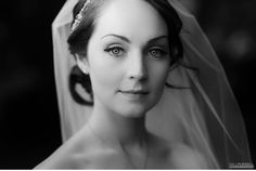 black and white closeup of beautiful bride