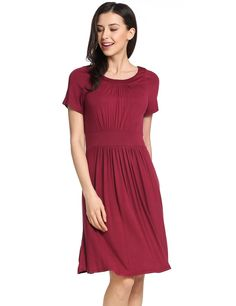 Red O-Neck Short Sleeve A-Line Pleated Hem Elastic Pullover Casual Dress