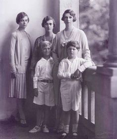 Crownprincess Helena of Romania (nee Pss of Greece) with son Prince Mihai (now King Mihai I of Romania) and cousinsn Pss Theodora and Cecilie and their little brother, Prince Phillipos, (now Duke of Edinburgh) of greece. Late 1920s.