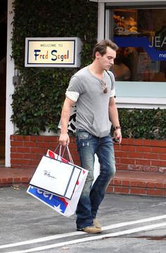 Actor Jonathan Rhys Meyers does some shopping at Fred Segal on Melrose Avenue in West Hollywood.