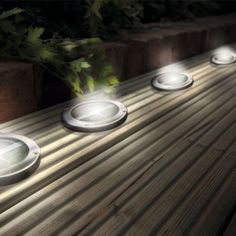Solar Deck Lights Led Ground Stainless Steel A Set Of Four Patio Light