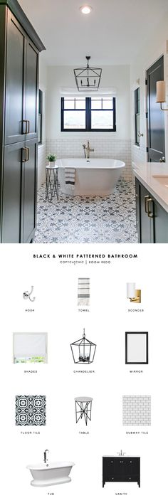 maybe not black but color on cabinets This gorgeous black and white patterned bathroom by Sita Montgomery gets recreated for less by copycatchic luxe living for less budget home decor and design looks for less room redos Small Bathroom Tiles, Bathroom Flooring, Bathroom Ideas, Vintage Bathroom Tiles, Black And White Bathroom Floor, Lowes Bathroom, Black And White Tiles, Budget Bathroom, Bathroom Vanities