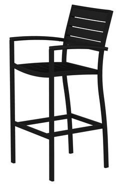 Amazon.com : POLYWOOD A202FABBL Euro Bar Arm Chair, Textured Black/Black : Patio Dining Chairs : Patio, Lawn & Garden