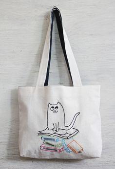 books and cat shoulder bag / minimalist line drawing / door NIARMENA