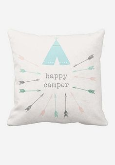 ArtoutletMF Pillow Cover Happy Camper Tribal Arrows Loving the colors, pattern and overall adorable Tribal Nursery, Girl Nursery, My Funny Valentine, Camping Room, Camping Nursery, Tribal Arrows, Hilario, Nursery Inspiration, Nursery Ideas