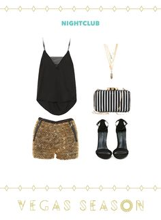 Glittery gold short shorts and a simple black top are club-ready! Summer Vegas Outfit, Summer Club Outfits, Las Vegas Outfit, Summer Ootd, Vegas Outfits, Summer Shorts, Swarovski Outlet, Gold Shorts, Evening Outfits