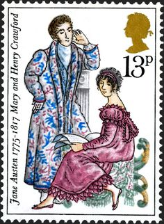 Stamp: Mary and Henry Crawford (Mansfield Park) (United Kingdom of Great Britain & Northern Ireland) (Birth Bicentenary of Jane Austen (novelist)) Mi:GB 733 Jane Austen Quotes, Jane Austen Novels, Elizabeth Gaskell, Uk Stamps, Postage Stamps, Charlotte Bronte, Regency Fashion, Mansfield Park, Becoming Jane
