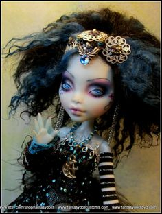 Custom OOAK Lagoona Monster High Doll. Full one of a kind outfit, repaint, hair and stand by Fantasy Dolls.