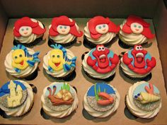 Little Mermaid cupcakes- has never seen Little mermaid. I should convert her before she turns two so she can have this for her birthday!
