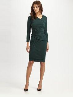 Carven - Asymmetrically Draped Jersey Dress - Saks.com Neiman Marcus Dresses, Colour Pallette, Carven, Fashion Inspiration, Dresses For Work, Color, Dress Work, Gowns, Colour