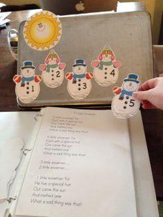 """Fingerplay, """"Five Little Snowmen"""" (free; from Kindergarten Nana) Rhyming Kindergarten, Preschool Songs, Kindergarten Literacy, Kids Songs, Preschool Ideas, Rhymes Songs, Preschool Worksheets, Preschool Learning, Winter Fun"""