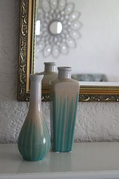 New green vases from #Goodwill.  $6.99, 4.99  #Goodwill #Colorado Springs #decor #thrift