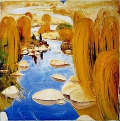 Willows at carcoar - Brett Whiteley Australian Painting, Australian Artists, Abstract Landscape, Landscape Paintings, Nyc Blog, Avant Garde Artists, Unusual Art, Arte Pop, Figure Painting