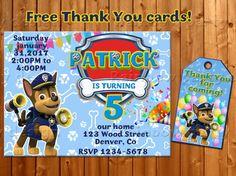 Chase Paw Patrol invitation  Thank you Paw patrol birthday