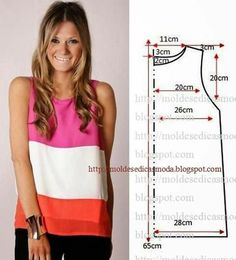Free sewing pattern for a simple tank top. More free sewing patterns at… Sewing Patterns Free, Sewing Tutorials, Clothing Patterns, Dress Patterns, Diy Couture, Couture Sewing, Diy Clothing, Sewing Clothes, Fashion Sewing
