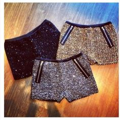 shorts sequin zip hotpants #Glam