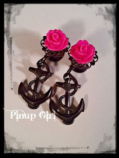 2g Plugs with Hot Pink Glossy Roses Fancy Filigree and Rock in Black Anchors - Pinup style rockabilly cute earrings.. $25.00, via Etsy.