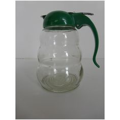 Mid-Century Dripcut Glass Syrup Pitcher w Green Plastic Top