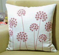 Red Flower Pillow Cover, White Linen Red Queen Ann, Embroidered, Floral Decorative Pillow, Modern Ho
