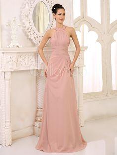 Vestido de damas de honor de chifón de color desnudo con escote Halter - Milanoo.com