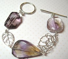 Faceted Nugget Ametrine and Sterling Silver by DirtyBirdJewellery Summer Bracelets, Sterling Silver Bracelets, Personalized Items, Unique Jewelry, Handmade Gifts, Accessories, Etsy, Vintage, Kid Craft Gifts