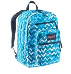 A cute blue chevron backpack! It's a Jansport big student backpack!!  Perfect for any girl who likes blue and chevron!