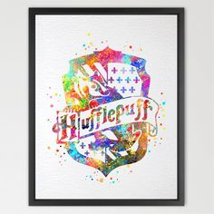 Dignovel Studios 8X10 Hufflepuff Crest from Harry Potter print kids Watercolor Print Harry Potter Poster playroom decor Nursery Kids Room Gift Linen Poster N400 * Be sure to check out this awesome product.