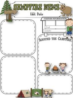 Camping Theme Newsletter Template | scrapbook pages | Pinterest ...
