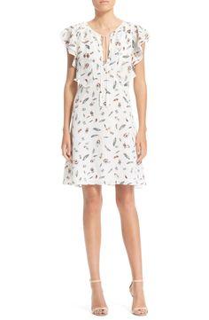 The Kooples Feather Print Flutter Sleeve Silk Dress