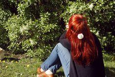 Red hair long sunlit