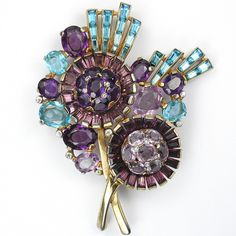 Trifari 'Alfred Philippe' Gold Aquamarines and Pale and Dark Amethysts Double Circular Flowers Floral Spray Pin Clip