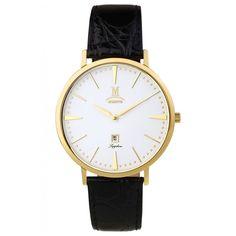 Momentus EM303G-01BG Men's Elegance White Dial Yellow Gold Steel Black Leather Strap Watch
