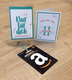 Stampin' Up! Geburtstagskarte und Gutscheinverpackung zum 11.Geburtstag für einen Jungen Stempelset So viele Jahre, Timeless Textures und Blumen für dich SAB 2016 www.stempelrausch.de