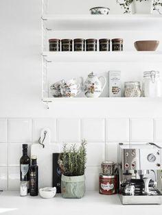 white kitchen | stadshem | DustJacket Kitchen, ideas, diy, house, indoor, organization, home, design, cook, shelving, backsplash, oven, desk, decorating, bar, storage, table, interior, modern, life hack.