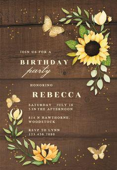 Sunflower Corner - Birthday Invitation #invitations #printable #diy #template #birthday #party Free Wedding Invitations, Free Baby Shower Invitations, Christening Invitations, Gift Registry, Printable Cards, Free Printables, Rsvp, Corner, Island