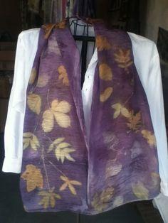 flat crepe SILK scarf eco print with logwood overlay 14 x 72