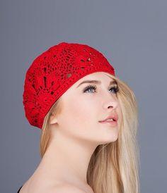 392bc346434 Womens crochet hat Crochet lace cap Crochet flower hats Summer lace beret  Summer hats handmade Women