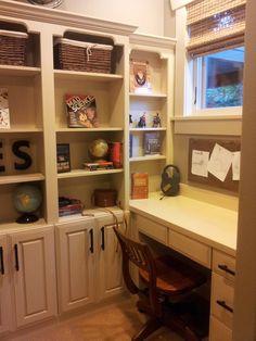 Astonishing White Custom Bookshelves With Desk And Drawers