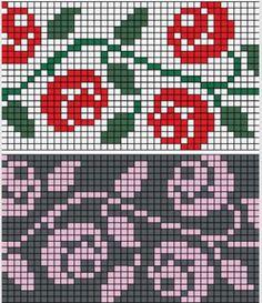 Rose Trellis chart for hand or machine knitting. Free chart for rose trellis Rose Trellis chart for hand or machine knitting. Free chart for rose trellis Knitting Charts, Knitting Stitches, Free Knitting, Embroidery Stitches, Knitting Machine, Knitting Patterns, Intarsia Patterns, Beginner Knitting, Sock Knitting